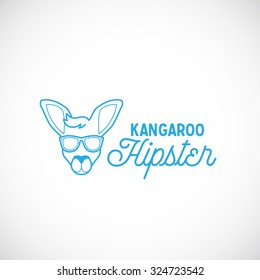 Line Style Abstract Vector Kangaroo Hipster Face Logo Template. Isolated.