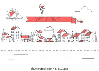 Line style city vector illustration. Houses, vintage cars, plane with banner.