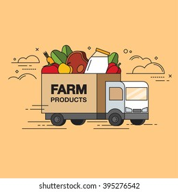 Line style colored vector illustration of lorry delivering farm organic products isolated on bright background