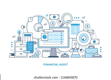 Line style concept of financial audit, accounting, sales analytics . Abstract vector illustration with computer monitor, office equipment, charts and graphs