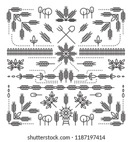 Line Style Design Element Set, Farm Concept, Wheat, Barley, Rice, Tree, Leaves