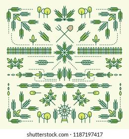 Line Style Design Element Set, Farm Concept, Wheat, Barley, Rice, Tree, Leaves