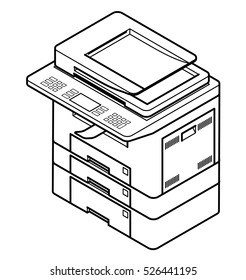 Line style drawing of a multifunction office laser printer. With 3 paper trays.