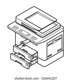 Line style drawing of a multifunction office laser printer. With 2 paper trays opened.