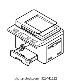 Line style drawing of a multifunction office laser printer. With paper tray opened.