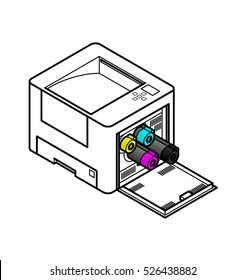 Line style drawing of an office laser printer. Showing toner cartridges being removed / installed.