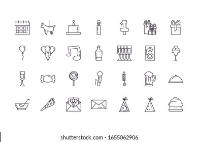 line style icon set design, Party celebration event happy birthday holiday surprise anniversary and decorative theme Vector illustration