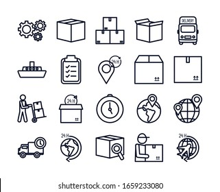 line style icon set design, Delivery logistics transportation shipping service warehouse industry and global theme Vector illustration