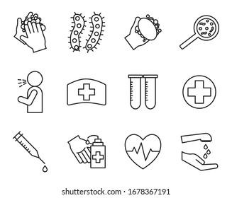 line style icon set design of Covid 19 virus coronavirus infection corona epidemic disease and medical theme Vector illustration
