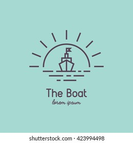 Line style logo of a boat at sunset..  Modern linear sailboat on vintage background. Travel and adventure logo for your business.