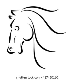 Line style logo of a horse head.