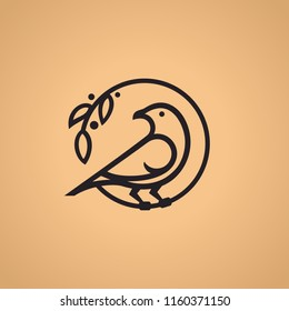 Line style logotype with a bird on a branch with berries.