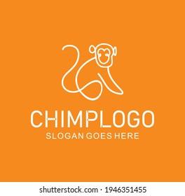 Line style logotype template with a Chimpanzee Monkey Logo Vector Design Icon. Minimalist Unique Simple Sign Animal Mono Line