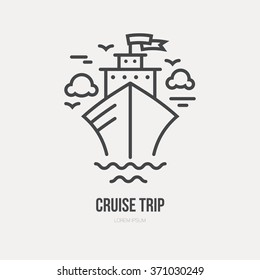 Line style logotype template with cruise ship. Isolated on background and easy to use. Perfect logo for your business. Clean and minimalistic symbol. Ocean vacation concept.