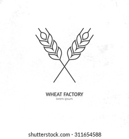 Line style logotype template with wheat. Easy to use business template.