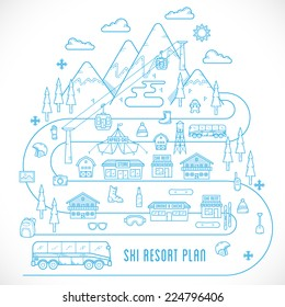 Line Style Vector Ski Resort Plan Vacation Illustration Isolated