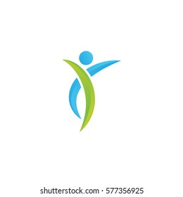 line swoosh sport healthy human people concept logo icon vector template