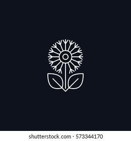 Line Symbol, flower with leaves, Herbal concept, vector design element