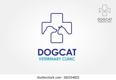 line symbols in negative color, vector logo Vector logo stylized silhouette cross incorporate with dog and cat. It's good for pet shop, pet house, pet clinic, pet care, or other pet activity.