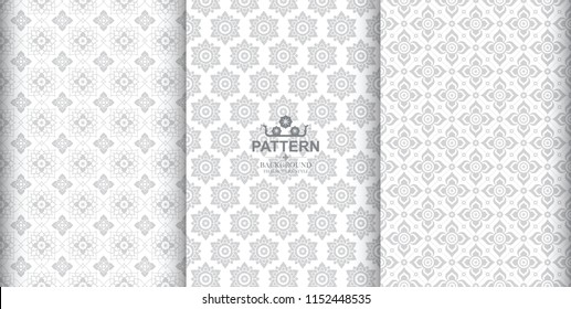 Line Thai, The Arts of Thailand, Thai pattern White background.