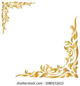 Line Thai Golden , The Arts of Thailand, line pattern background, Vector illustration