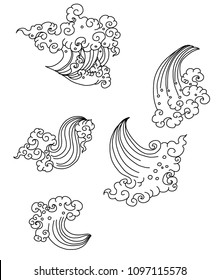Line Thai style.Outline Japanese wave dawn from Line Thai style.Thai water wave isolate on white background.Outline and silhouette wave design for tattoo.