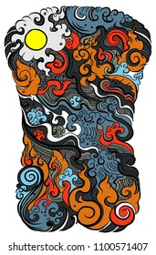 Line Thai tattoo design.traditional thailand style,cloud and fire tattoo.Line Thai water wave design for tattoo.Japanese wave for tattoo background.