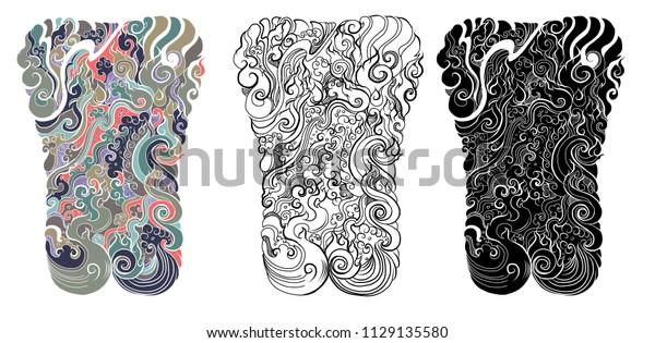 93e5758dda6fa Line Thai tattoo design.traditional thailand style,cloud and fire tattoo.Line  Thai