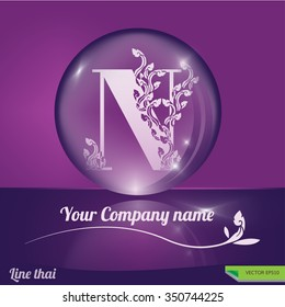 Line thai traditional Thai style of Letter N logo concept. Typography in crystal Ball design