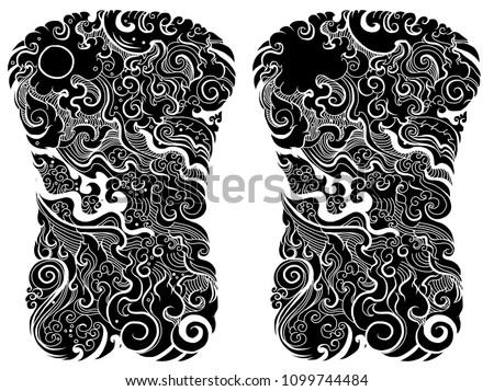 Line Thai Water Wave Design Tattoo Japanese Stockvector Rechtenvrij