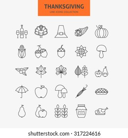 Line Thanksgiving Day Holiday Icons Big Set. Vector Collection of 25 Autumn Thanksgiving Holiday  Modern Thin Line Icons for Web and Mobile. Food Dinner Traditional Icons Bundle