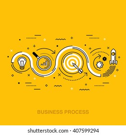 Line thin flat design illustration concept for business process from idea to realization, market research, analysis, planning, business management, strategy isolated on bright background