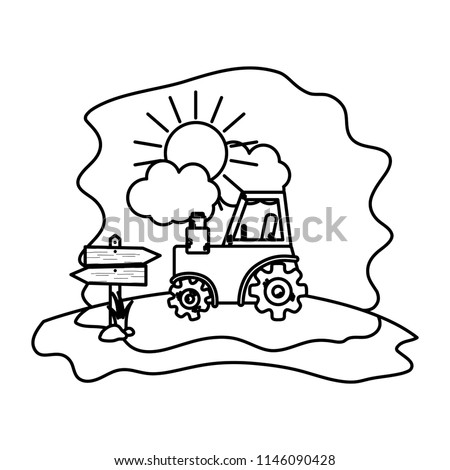 Line Tractor Farm Vehicle Wood Notices Stock Vector Royalty Free