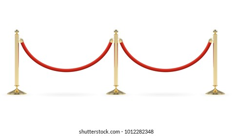 Line of two barriers with red rope and shadows isolated on white background. Vector illustration.