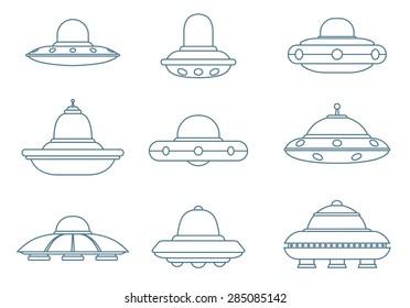 Line Ufo Spaceships set, vector