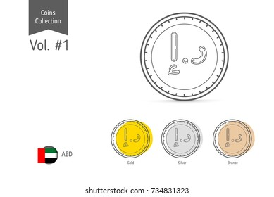 Line United Arab Emirates Dirham coin vector. Isolated on white background. Simple thin line coin icons for websites, web design, mobile app, infographics.