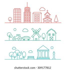 Line urban and village landscapes, city park, vector illustration