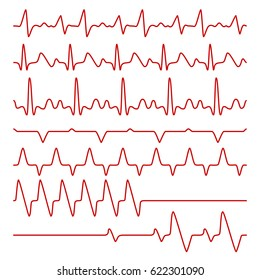 Line vector cardiograms or electrocardiogram on monitor, heartbeat medical symbols