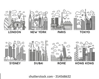 line vector city icons. london, new york, paris, tokyo, sydney, dubai, rome, hong kong. line art collection