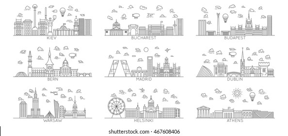 line vector city icons. Warsaw. Bern. Madrid. Helsinki. Athens. Dublin. Kiev. Bucharest. Budapest. With famous landmarks monuments and buildings. Line art illustrations. Modern design