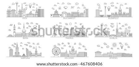 line vector city icons