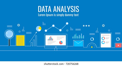 Line vector of Data analysis, data-driven marketing concept