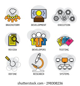 line vector design of software industry process of development & testing. these icons also represent concepts like team, developers, brainstorming ideas defining requirements research systems network