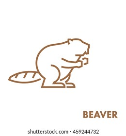 Line vector figure of beaver. Vector outline forest animal for web and design.