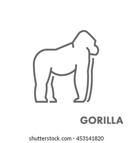 Line vector figure of gorilla. Vector outline african animals for web and design.