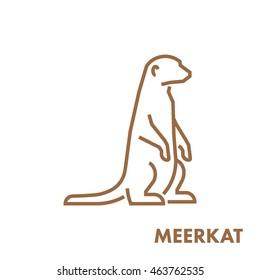 Line vector figure of meerkat. Vector outline african animal for web and design.