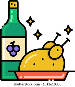 Line vector icon of dinner menu. Illustration of wine and roasted turkey.