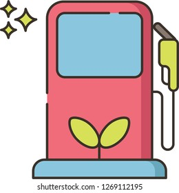 Line vector icon illustration of a gas pump with green sprout sign, biofuel concept