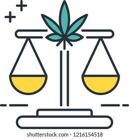 Line vector icon illustration of legal marijuana with scale of justice concept