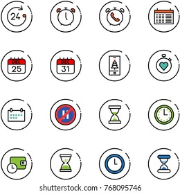 line vector icon set - 24 hours vector, alarm clock, phone, schedule, 25 dec calendar, 31, christmas mobile, stopwatch heart, no parking even road sign, sand, time, wallet